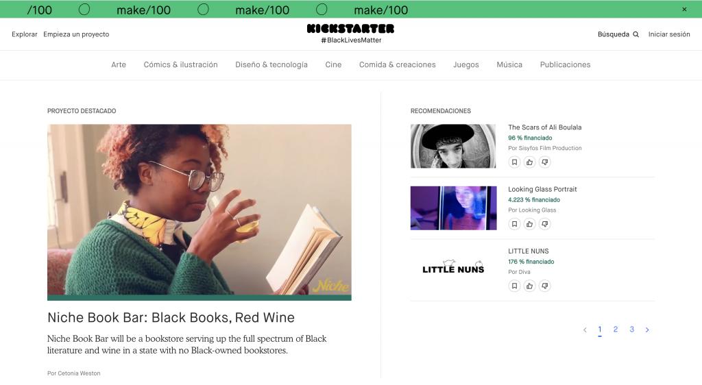 Página principal de la plataforma de crowdfunding Kickstarter