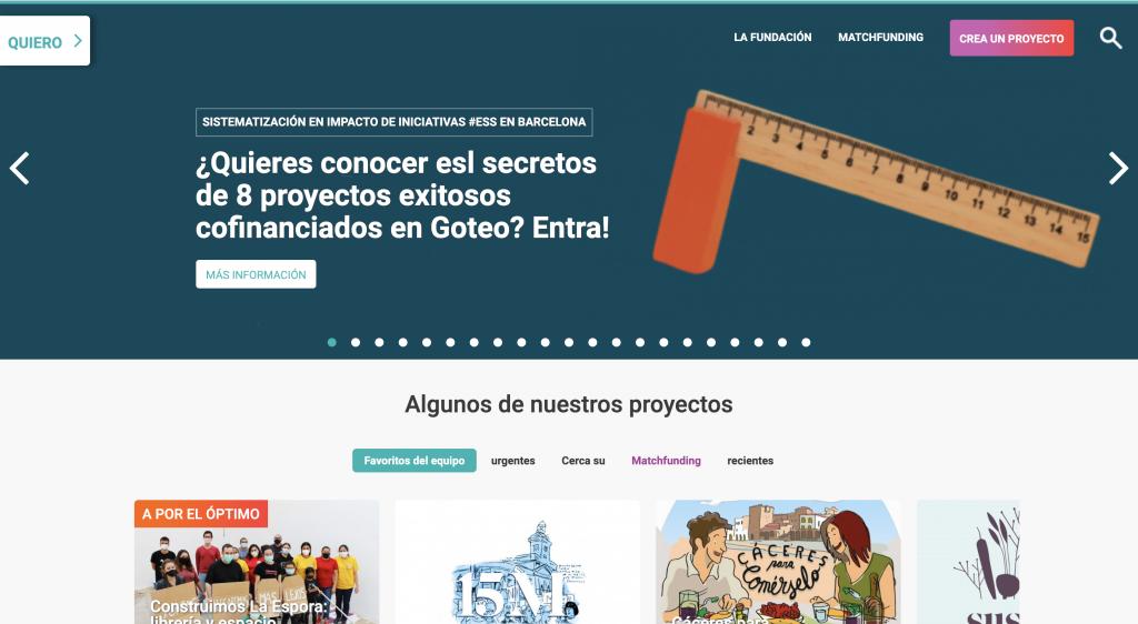 Plataforma de crowdfunding Goteo.org