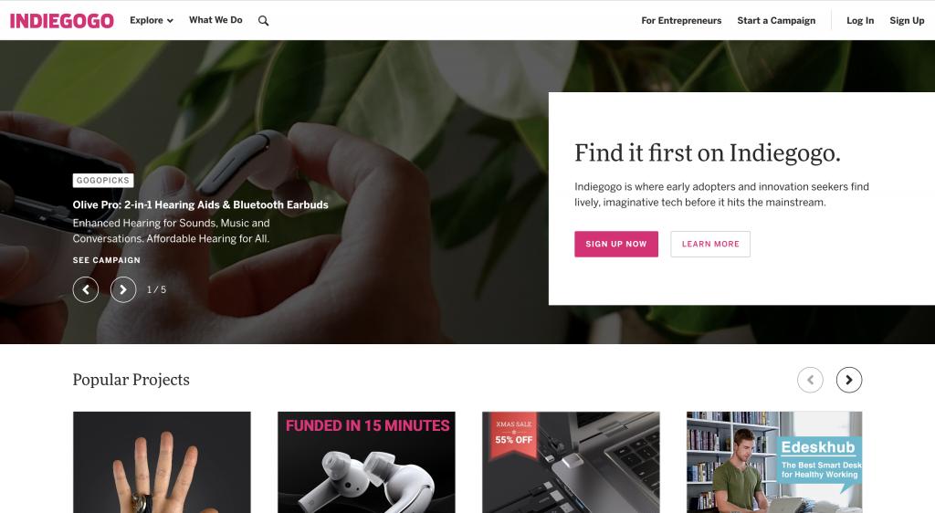 Indiegogo crowdfunding platform